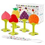 NASHRIO Baby Teething Toys 5 Pack - Silicone BPA Free Natural Organic Freezer Safe Teethers for Newborn...