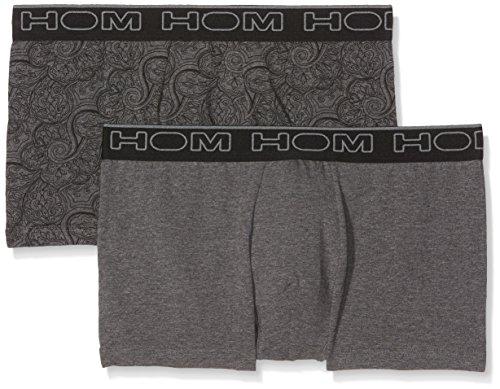 HOM Herren Hub #2 Boxer Briefs Pack x2 Badehose, Gris (Imprime Gris-Noir/Gris Chiné), M (2er