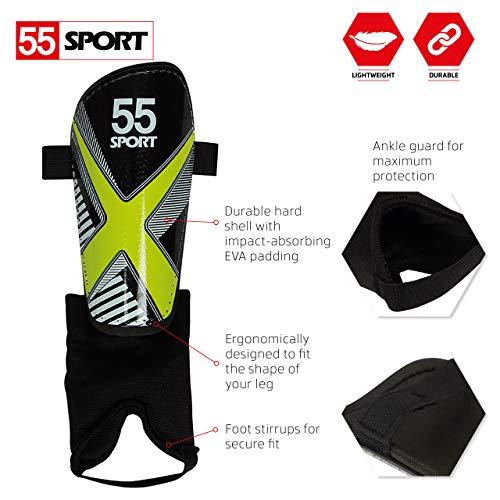 55 Sport X-Force Club Football Shin Guards - Black - Medium