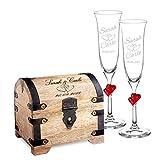 Casa Vivente - Set Cadeau pour Le Mariage - 2 flûtes à Champagne et Coffre d'argent avec Gravure - Personnalisé avec [Noms] et [Date] - Motif Coeurs - Cadeau de Mariage - Cadeau pour Couples