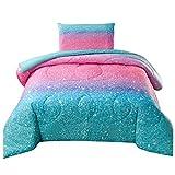 JQinHome Twin Glitter Comforter Sets Blanket, 3D Colorful Duvet Pink Glitter Themed Bedding, All-Season Reversible Quilted Duvet, for Girls Teen Kids Women - Includes 1 Comforter, 1 Pillow Sham