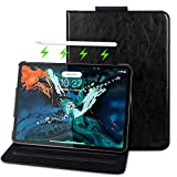 FYY New Apple iPad Pro 12.9 inch 3rd Generation 2018 Case [Support Apple Pencile Charging], Folio Leather Case Cover with [Auto Sleep/Wake Feature] [Card Slots] and [Multiple Angles] Black