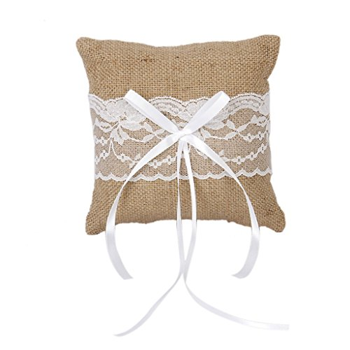 Adeeing Ring Bearer Pillow, Small, 6 x 6 Inch
