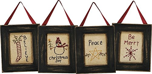 Primitives by Kathy Christmas Stitched Wall Art, 3.75' x 4.5', Be Merry, 4 Piece