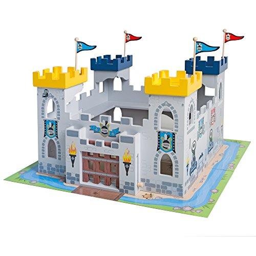 roba Ritterburg \'3in1\', Holz Burg Set, 2 Burgen steckbar zu einem großen Fort