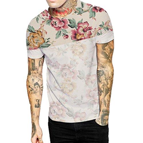 URSING Herren T-Shirt Kurzarm Shirt mit Rundhals-Ausschnitt und Blumenprint Oversize Basic Shirts Crew Neck Sweatshirt Casual Shirt Streetwear Blusenshirt Kurzarmshirt Freizeithemd (XL, Mehrfarbig)