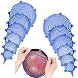 12PCS Tapas de silicona elásticas, Tapadera flexible extensible, reutilizable...
