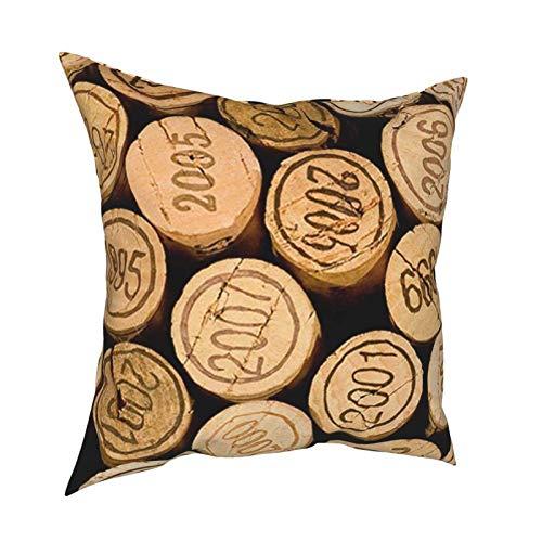 Tapón de Botella de Vino con Funda de Almohada Vintage Throw Funda de Almohada Cuadrada Suave Funda de cojín Funda de Almohada 18 'x18' para sofá Cama de Coche