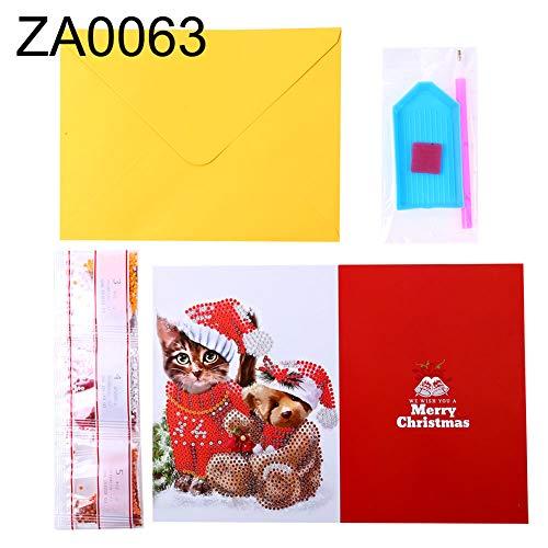 partielle Diamant Peinture Père Noël Bonhomme de neige Merry Christmas DIY carte de voeux avec enveloppe faite à la main carte cadeau ZA0063