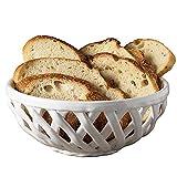 Modern Farmhouse 9-Inch Beaded Bread Basket in White