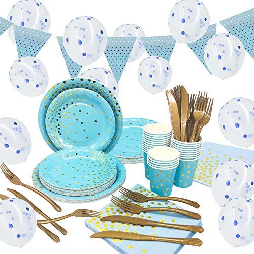 Halcyerdu 161 Piezas Azul Vajilla Fiesta,Platos Desechables Cumpleaños, Vasos de papel, tenenedores, cuchillos, Servilletas y Globos De Confeti, Pancarta, para 25 Personas