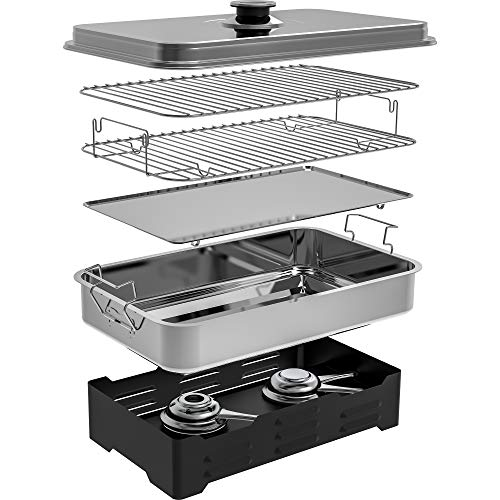 Browin Deluxe Edelstahl Tischräucherofen - rostfrei, mobil - mit Küchenthermometer und Räucherspänen