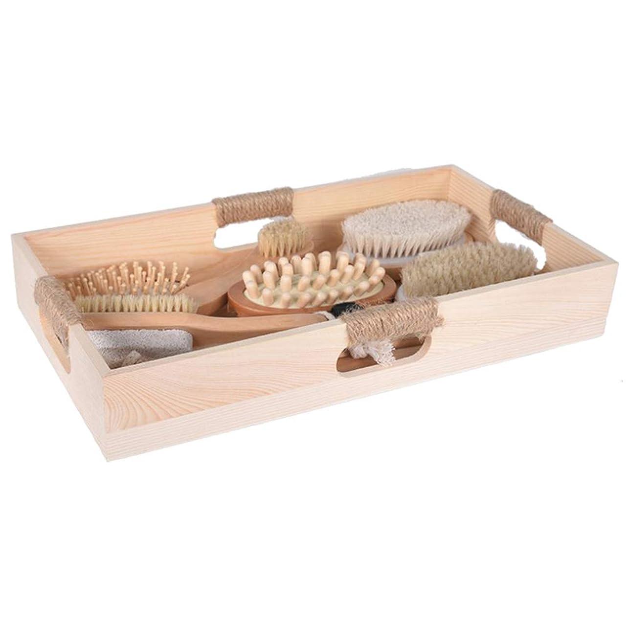 鉄支援する飢饉Healifty 6ピース入浴ボディブラシマッサージブラシ木製ハンドルセルライトマッサージフットファイルブラシヘアマッサージ櫛で収納トレイ