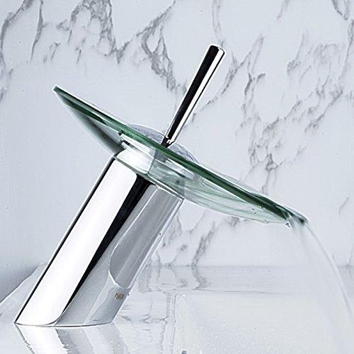 Einhand-Runde Glasauslauf Wasserfall Waschbecken Wasserhahn Chrom-Finish Badewanne Mischer-Hahn-Toilette Vanity Armaturen - 6