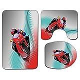 3Pcs Alfombra de baño antideslizante Juego de tapa de asiento de inodoro Motocicleta Suave antideslizante Alfombrilla de baño Biker en carretera Fondo de punto digital Rápido Extremo Riesgo Ocio Traba