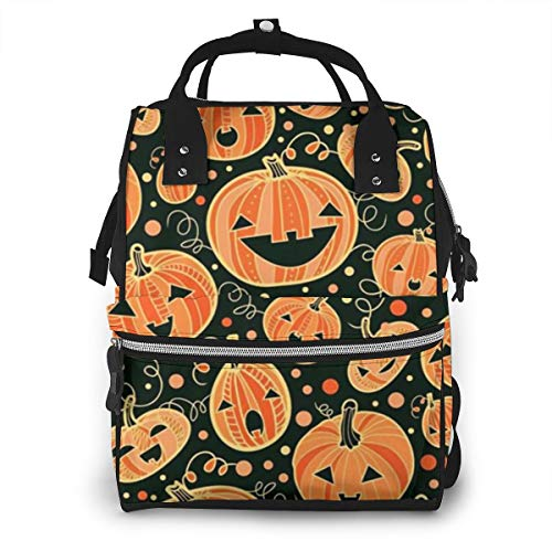 Large Capacity Diaper Bag Backpack, Anti-Water Maternity Nappy Bags Baby Bag with Insulated Pockets, Orange Halloween Pumpkins Smiling Repeat Best Daypack