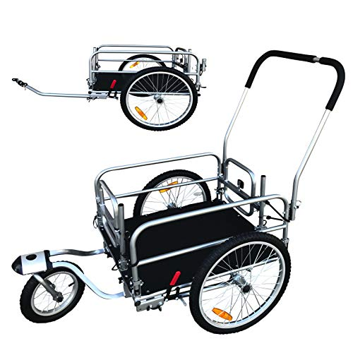 Discover Bargain 2 in 1 20 Wheels Cargo Utility Stroller and Bicycle Bike Trailer Beach Cart Silver...