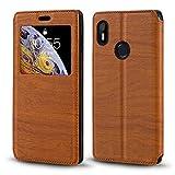 BQ Aquaris C Case, Wood Grain Leather Case with Card Holder