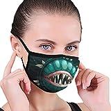Dibujos animados espeluznante Monster Planet con boca y mandíbulas en el espacio oscuro Tela media cara máscara bucal con orejeras anti polvo anti niebla máscara a prueba de viento