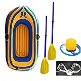 MONIVEVE Inflatable Boat Series Explorer Touring Kayak Canoe Boat Set 2-Person PVC Inflatable Rafting Fishing Dinghy Tender Pontoon Boat with Paddles and Air Pump for Water Sports (Yellow)