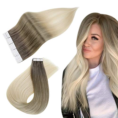 Easyouth Tape in Balayage 18 zoll 40g 20Stück pro Paket Farbe #8T18P8T60 8 Fading zu 18 Highlight mit 60 Remy Haar Tape