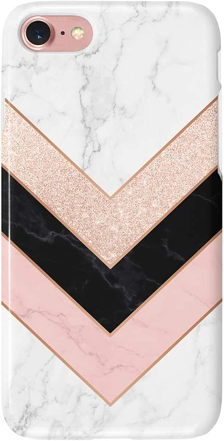 uCOLOR Case Compatible with iPhone 6S 6 iPhone 8/7 SE 2nd (2020) Cute Protective Case Glossy Rose Gold Marble Pink Black White Slim Soft TPU Silicon Shockproof Cover Compatible iPhone 6s/6/7/8(4.7