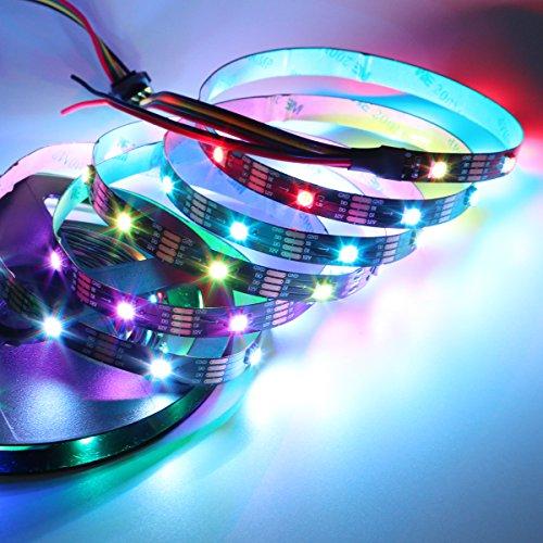 CS8812 tira de LED, 150 leds DC12V (actualizado WS2813) luz de tira LED digtal direccionable individualmente, cables de señal dual 5050 RGB SMD no impermeable PCB negro