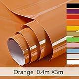 Hode Vinilos Adhesivo para Muebles Puertas Ventanas Papel Adhesivo para Muebles Pegatina de Vinilo Adhesivo Muebles Naranja 40X300cm