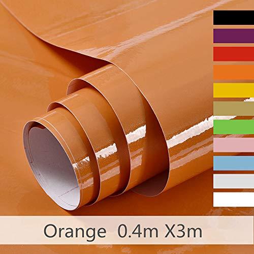 Hode Selbstklebende Folie Schrank bekleben Möbelfolie für Küche Wände DIY Wasserdicht Vinyl 40cmX300cm Orange Dekorfolie Mit Glitzer