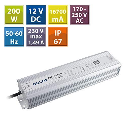 McLED voeding voor LED-lampen, 200W, 12 V.