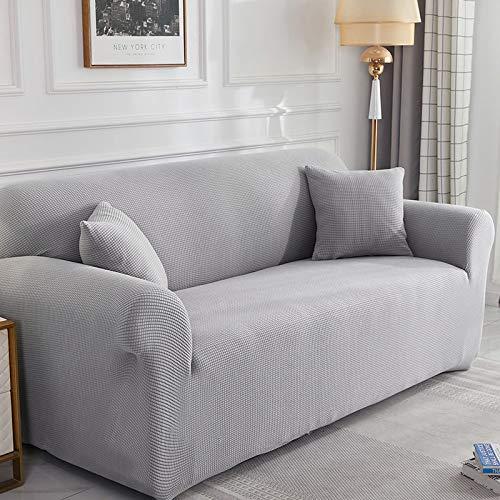 Toalla de sofá para Mascotas Resistente a la Suciedad Universal Todo Incluido, Funda de sofá de Grano de maíz elástica Universal. Gris Claro Longitud Adecuada para XL 235-300cm