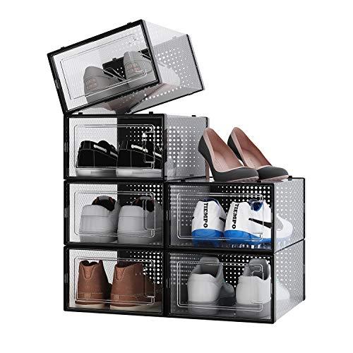 ALEMOK Cajas de Zapatos Transparentes, Organizador de Zapatos Apilable, Paquete de 6 Cajas de Almacenamiento de Plástico y Plegables