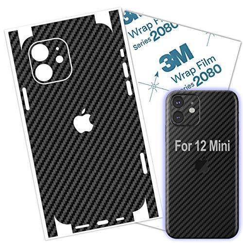 12 Mini Skin Wrap Carbon Fiber 3M Film Compatible with iPhone 12 Mini Skin Protective Around Borders and Back Thin 3D Elegant Skin (Carbon Fiber)