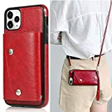 LUVI for iPhone 11 Pro Max Card Holder Case with Neck Strap Crossbody Chain Handbag Wrist Strap Protective Cover with Credit Card Holder Slot PU Leather Wallet Case for iPhone 11 Pro Max Red