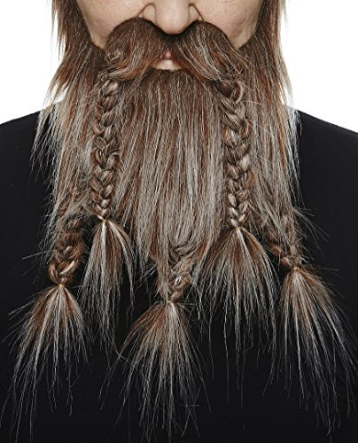 Mustaches Self Adhesive, Novelty, Viking Dwarf Fake Beard, False Facial Hair, Costume Accessory for Adults, Brown with Gray Color