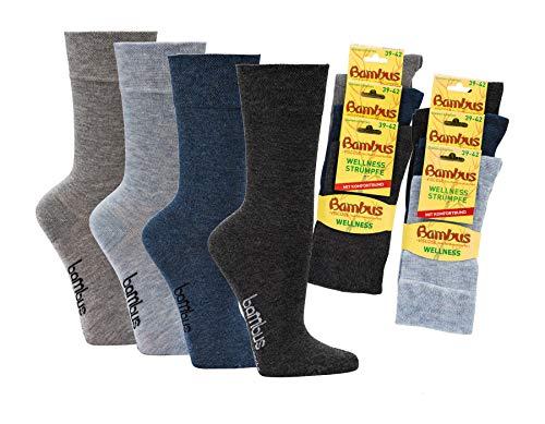 Wowerat 6 Paar Melange Bambus Wellness Socken für Sie und Ihn - aus Bambusviskose - weicher Komfortbund - handgekettelte Spitze (Melange, 43-46 | 6 Paar)