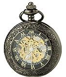 Sewor vintage Loupe montre de poche Squelette remontage manuel montre de poche Incluent Marque Boîte en cuir (Noir & Or)