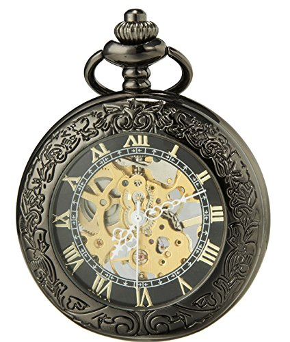 SEWOR Vintage Lupa Esqueleto Reloj de Bolsillo mecánico Man