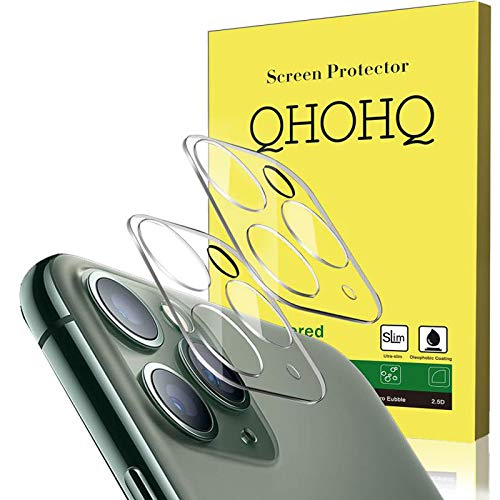 [2 Pack] QHOHQ Camera Lens Protector Compatible with iPhone 11 Pro Max(6.5) and iPhone 11 Pro(5.8), Tempered Glass Film,[Easy to Install] [9H Hardness] Anti-Scratch Screen Protector - HD Clear