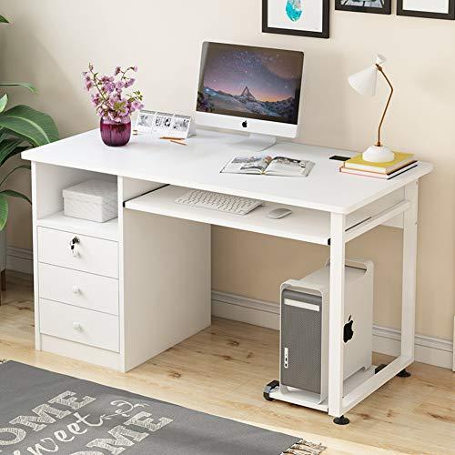 LUXDAMAI Computertisch Mit Tastaturunterlage Und Schubladen,Home Office Computer Schreibtisch Mit Ablagen,pc-Laptop Schreiben Studie Workstation-d 100x50x75cm(39x20x30inch)