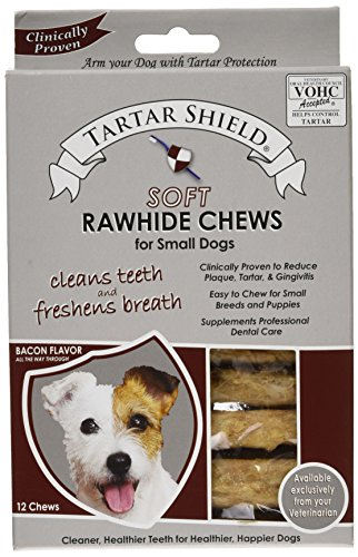 Tartar Shield Oral Hygiene Soft Rawhide Treat Chews for Small Dogs 12 Count 1 Pack - Easier Than Toothbrush & Toothpaste