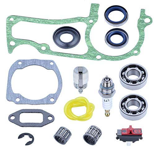 Adefol Chainsaw Cylinder Crankcase Muffle Gasket Oil Seal Crankshaft Ball Bearing 15pcs Kit for Husqvarna 362 365 371 372 372XP Replacement Parts with Washer, Clutch Piston Bearing Fuel Filter etc.