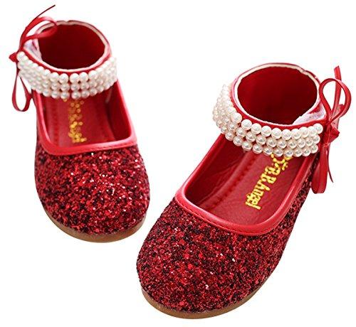 BoBo Angel Mädchen Mary Jane Halbschuhe Prinzessin Paillette Ballerina mit Perlen Riemchen Klettverschluss Festliche Glitzer Schuhe - Rot Größe 27