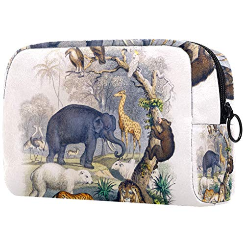 ATOMO Bolsa de maquillaje, bolsa de viaje cosmética de moda, bolsa de aseo grande, organizador de maquillaje para mujeres, león o zoológico