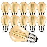 MZYOYO Pack de 10 Bombillas LED E27 G45 2W,Estilo Vintage,color ámbar,Blanco Cálido 2700K,Bombilla Edison para Iluminación Retro, 2 W 100 Lúmenes,Equivalente a 10W,Non Regulable