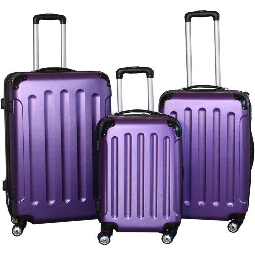BERWIN® Kofferset 3-teilig Reisekoffer Trolley Hartschalenkoffer ABS Teleskopgriff (Lila)