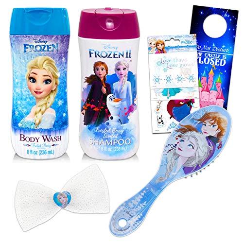 Disney Frozen Bath and Brush Bundle ~ 17 Pc Frozen Beauty Set Including Frozen Shampoo, Hair Brush, Hair Bow, Stickers and More! (Disney Frozen Bathroom Decor)