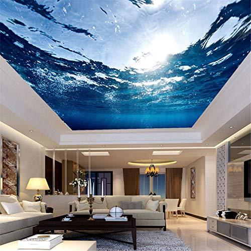 Rureng Fototapete Benutzerdefinierte Große Deckenbild Hd Blau Meerwasser Natur Wallpaper Wohnzimmer Hotel Decke Wandbild Mural 3D-280X200Cm