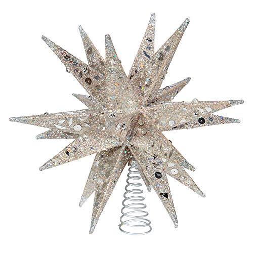 Kurt S. Adler 12' Champagne and Silver Glitter Moravian Star Treetop