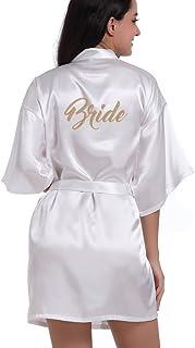 681908318c8 DF-deals Women s Satin Kimono Robe for Bridesmaid and Bride Wedding Party  Getting Ready Short